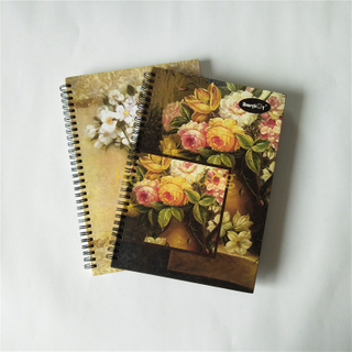 Flower Designs A4 Size Good Quality Hard Cover Spiral Notebook with LOGO SN-15