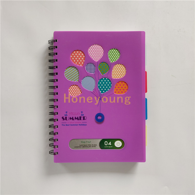 Four Subjects Junior High School Colorful Design PP Cover Spiral Notebook with Color Deviders SN-27